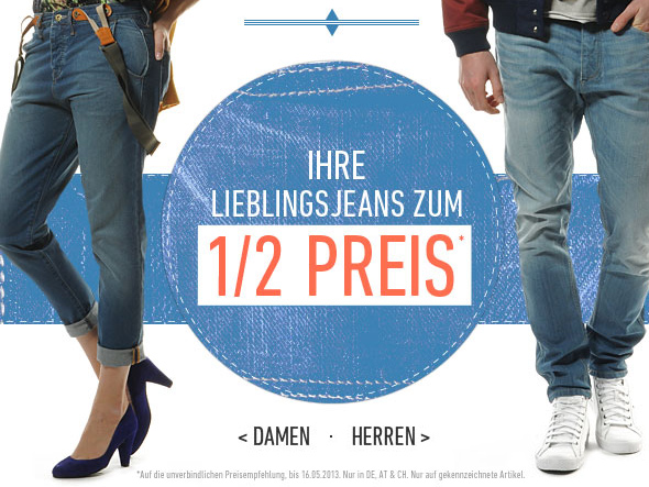 Dress for less   50% Rabatt auf Marken Jeans + 10€ Gutschein