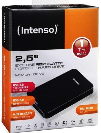 Intenso Memory Drive, externe 2.5 Festplatte mit 1TB und USB 3.0 für 64,90€