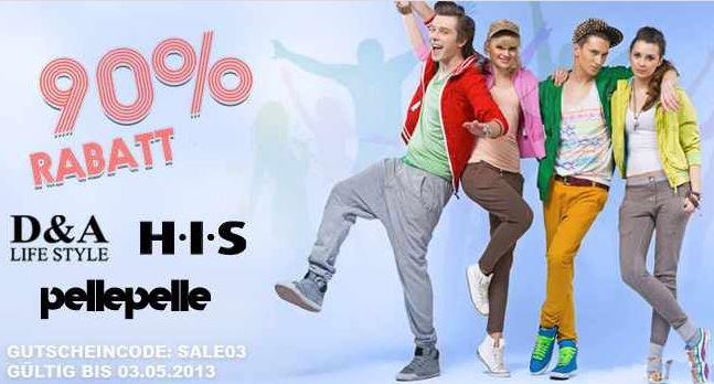 90% Rabatt auf Marken von D&A Lifestyle, H.I.S, Pelle Pelle, S&P und Kani Ladies