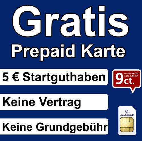 KOSTENLOS   O² Loop Prepaid Karte mit 5€ Guthaben, gut für O² Aktionen