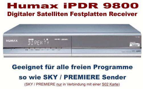 Wieder da! HUMAX iPDR 9800 Festplatten SAT Receiver digital, 160GB, DVB S für nur 29€