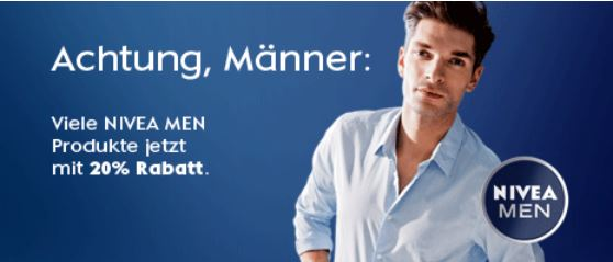 20% Rabatt beim Kauf von NIVEA Men Produkten im Wert ab 15€