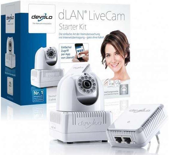 Devolo dLAN LiveCam Starterkit, Powerline Kamera inkl. dLAN 200AV Duo Adapter für 79,90€