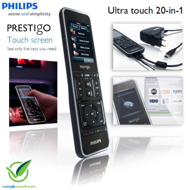 Philips Prestigo SRT9320, Universal Fernbedienung mit Ultra touch 7,1 cm Farbdisplay für 65,90€   Wieder da!