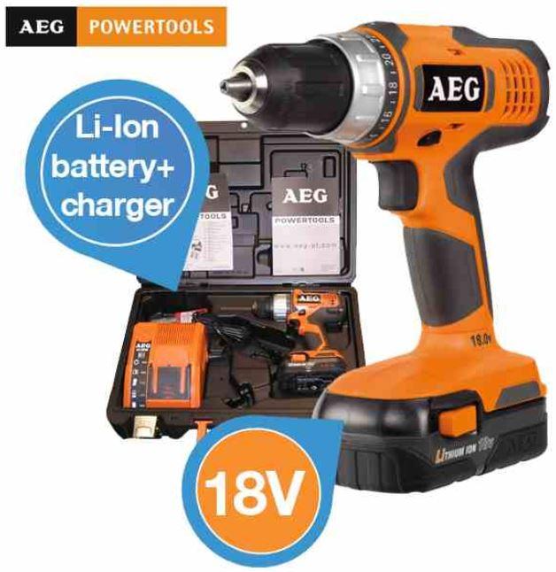 AEG Power Tool   18V Compact Bohrschrauber mit Lithium Ionen Akku für 125,90€