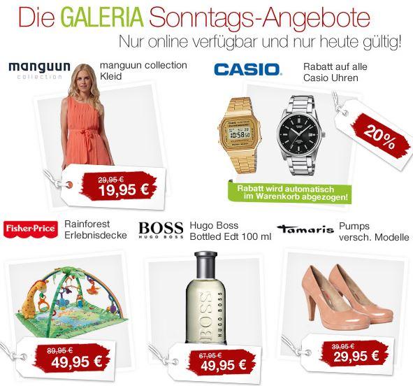Galeria Sonntags Angebote z.B. 20% Rabatt auf alle Casio Uhren uvm + 10% Gutschein