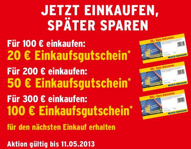 Ab 20% Cashback bei Max Bahr bis zum 11.05.2013