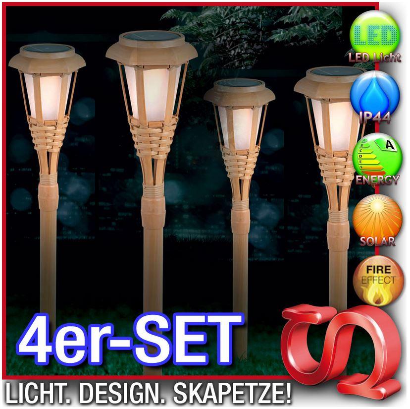 4x LED Bambus Solarspieße, länge 53cm, für 17,99€