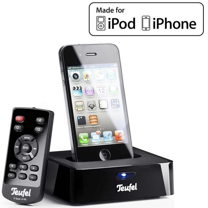 iTeufel Dockingstation v3 Schwarz iPod/iPhone bis 4G   inkl. Fernbedienung für 44,44€