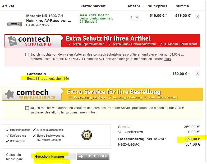 Marantz NR1603   7.1 Heimkino AV Receiver für 359€