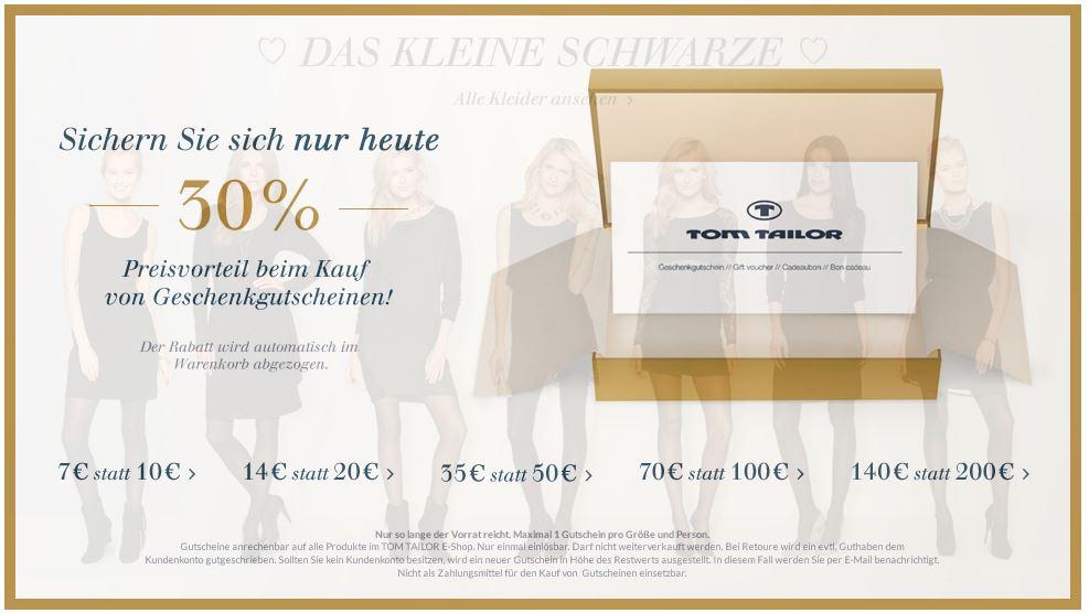 TomTailor   30% Rabatt auf alle Geschenkgutscheine – Lassen sich sogar mehrere kombinieren   Update!