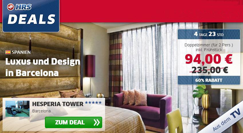 Update! Doppelzimmer für 2 Personen pro Nacht, im 5* Hotel Hesperia Tower in Barcelona, für nur 94€!
