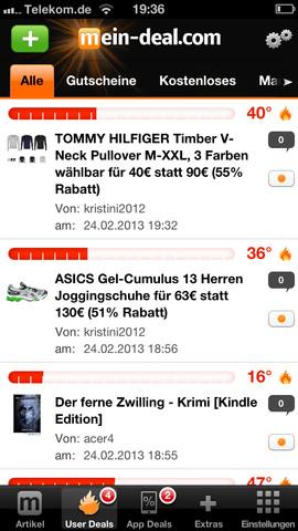 INFO: UserDeals kommentieren über die App