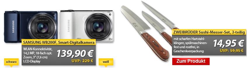 Samsung WB200F Smart Digitalkamera & ZWEIBRÜDER Messer Set   OHA Deals