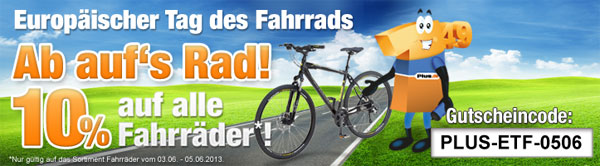 Tag des Fahrrads   10% auf alle Fahrräder bei Plus