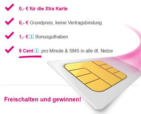 Kostenlose T Mobile Xtra Karte mit 1€ Bonusguthaben Update!