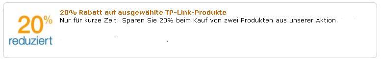 20% Rabatt auf ausgewählte TP LINK Produkte