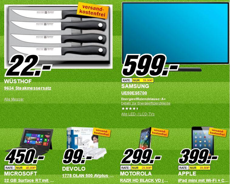 Update1! Platzverweis für teuer   Die heutigen Media Markt Angebote, z.B. Motorola RAZR HD Black für 299€