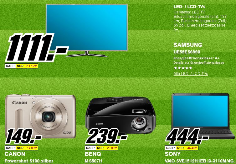 Platzverweis für teuer   Die heutigen Media Markt Angebote, z.B. HTC One S für 222€   Apple iPad 2 für 295€