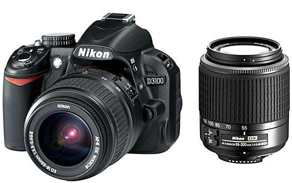 Update! Nikon D3100 Kit 18 55 mm + 55 200 mm für 349€