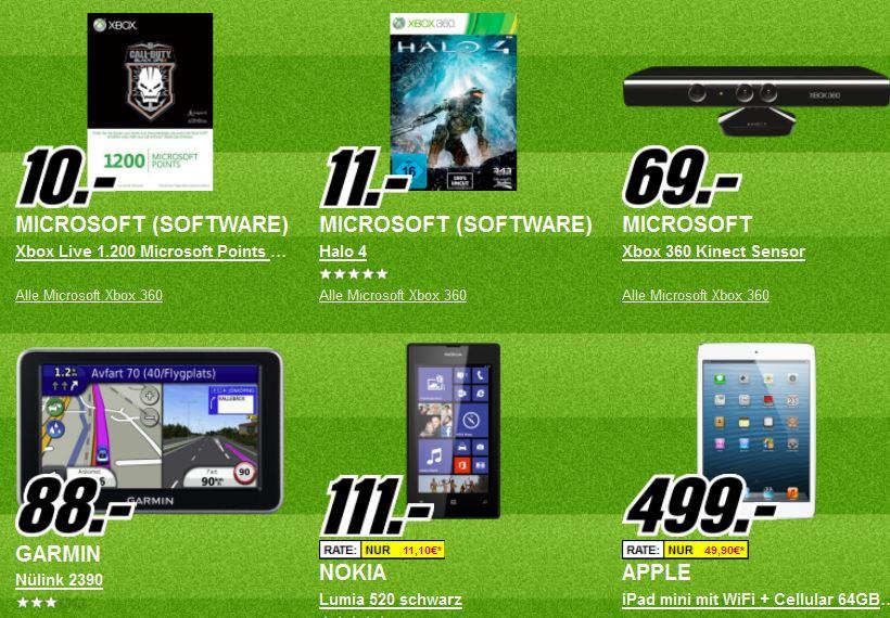 Update1! Platzverweis für teuer   Die heutigen Media Markt Angebote, z.B. Apple iPad mini WiFi, 4G 64GB für 499€