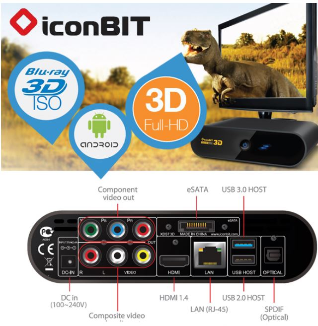 iconBIT XDS73D, Advanced 3D HD Media Player und SMART TV Internet Box für 95,90€