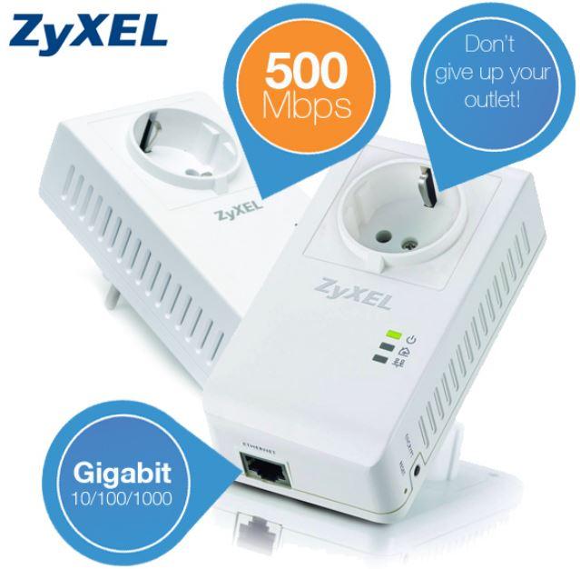 ZyXEL 500 Mbps Powerline Adapter für Multiple HD Video Streamings mit extra Steckdose für 55,90€