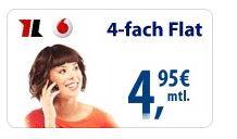 Vodafone Talk Special   4 Flats nur 4,95€ mtl.