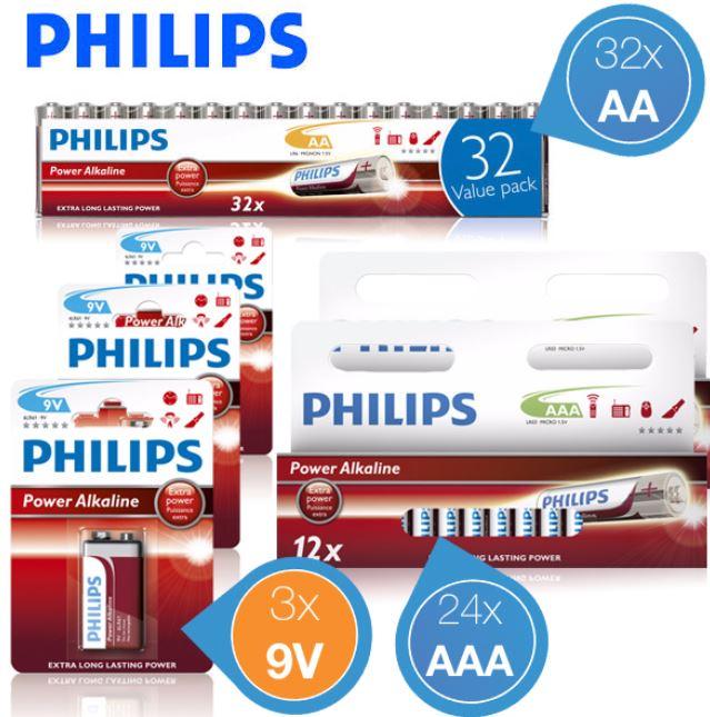 Philips Alkaline Batterien 24 x AAA, 32 x AA und 3 x 9V für zusammen 22,90€