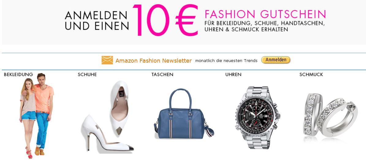 10€ Amazon Gutschein für Neukunden in der Kategorie Fashion   Update