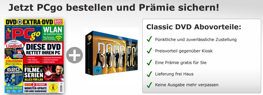 PCgo Jahresabo + James Bond   50 Collection (Blu ray) nur 98€