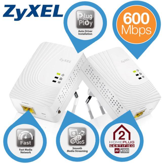 ZyXEL 600 Mbps, AV2 Gigabit Powerline Adapter Set für 55,90€