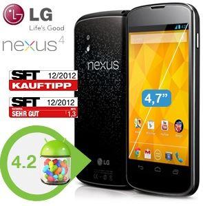 Google/LG Nexus 4 Android 4.2 Smartphone 16GB für 305,90€