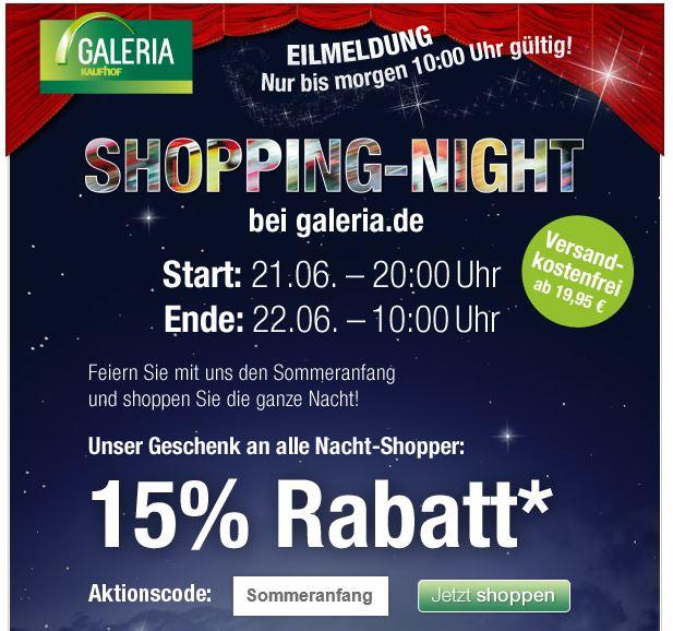 Shopping Night bei der Galeria Kaufhof mit 15% Rabatt auf alles* ab 20Uhr   Update!