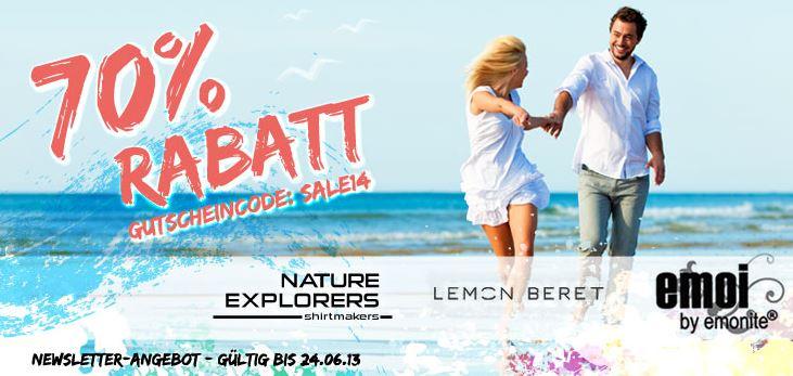70% Rabatt auf alle Artikel der Marken Nature Explorers, Lemon Beret und Emoi   auch viel Kinderkleidung!