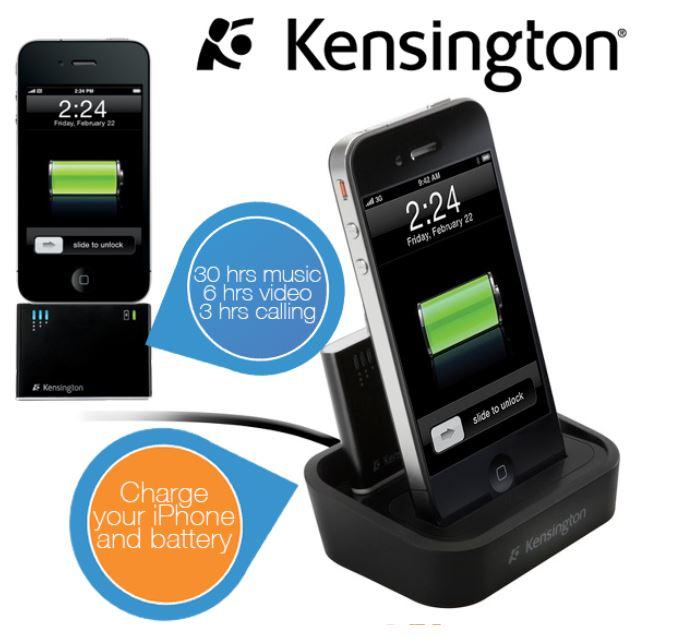 Kensington K39265EU, iPod / iPhone Ladestation mit Mini Zusatzakku für 25,90€