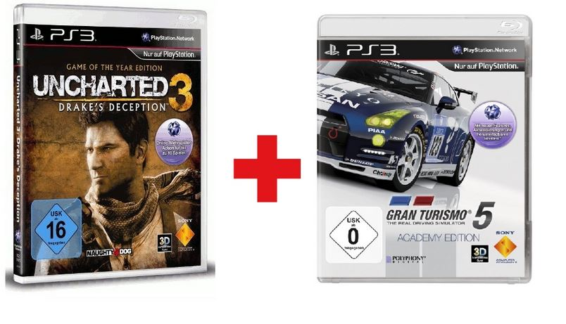 Sony Gran Turismo 5 Academy Edition + Sony Uncharted 3: Drakes Deception Game of the Year Edition für 27,95€