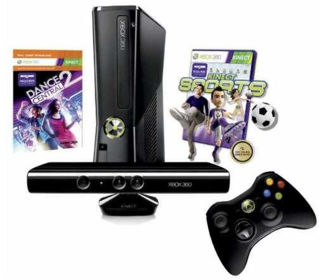 Xbox 360   250 GB Kinect + Kinect Sports + Dance Central 2 für 222,08€