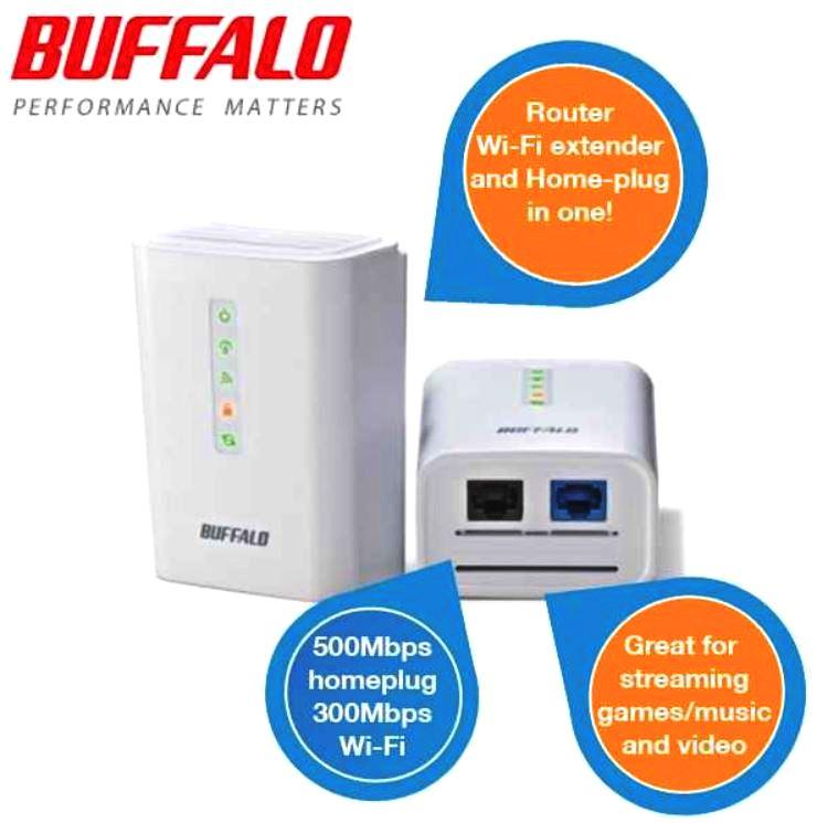 Buffalo 500Mbps HomePlug + 300Mbps Wireless Router Starter Kit für nur 58,90€