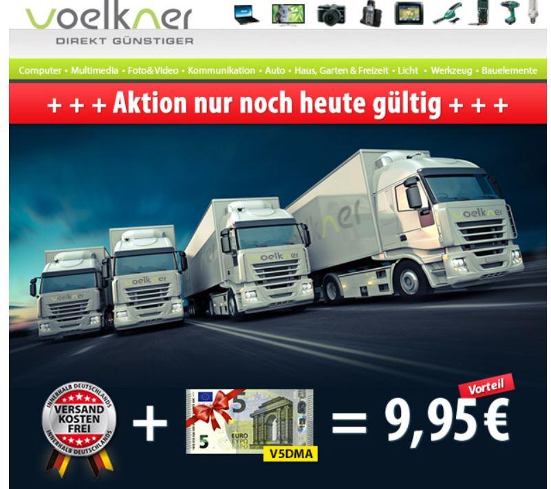 Nur heute VSK frei shoppen mit 5€ Völkner Gutschein. Ersparnis 9,95!