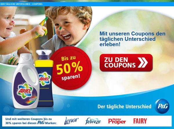 Coupons für Haushaltsprodukte   z. B. 2€ Rabatt auf Waschmittel von Ariel