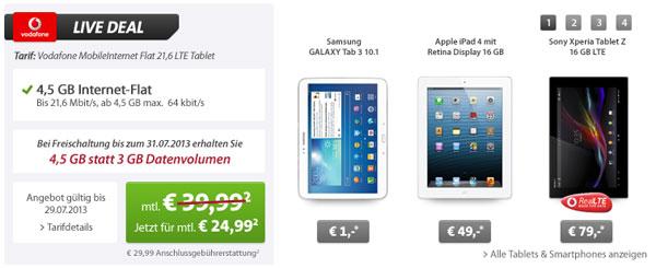 4,5GB Datenflatrate im Vodafone Netz inkl. Tablet mit effektivem Gewinn