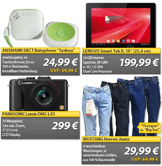 PANASONIC Lumix DMC LX5 Digitalkamera, Lenovo Smart Tab, Mustang Herren Jeans... OHA Weekend Deals
