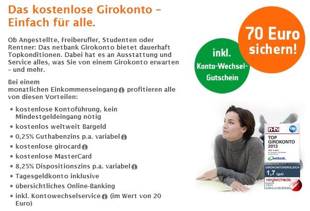 70€ Prämie bei Eröffnung eines netbank Girokontos abgreifen