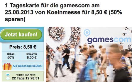 Gamescom Tageskarte für 8,50€ (Sonntag)