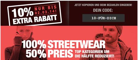 Streetware Sale bei Planet Sports + 10€ Gutschein