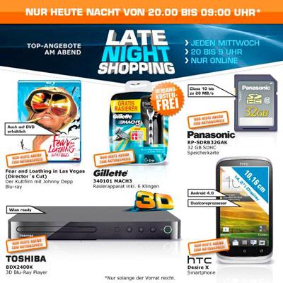 Saturn Late Night Angebote Übersicht   3D Blu ray Player und 32GB SDHC Karte von Panasonic