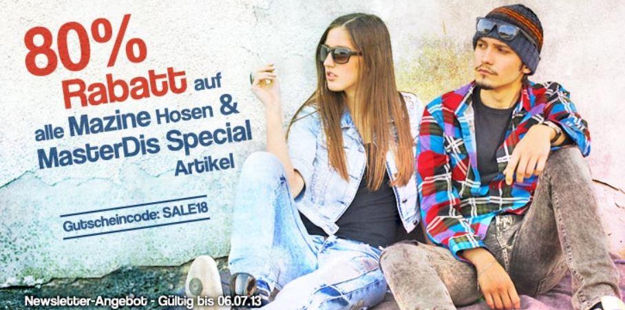 80% Rabatt auf Hosen der Marke Mazine und alle Spezial Artikel der Marke MasterDis Special bei den Hoodboyz