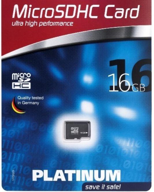 Platinum Micro SDHC Karte 16GB, Class 6 für 9,90€