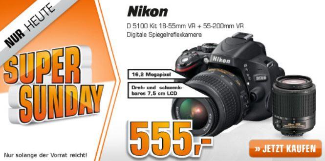 NIKON D 5100 + 18 55VR + 55 200VR Objektiv für 555€   bei den Saturn Super Sunday Angeboten